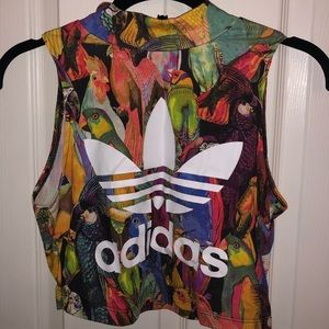 Adidas bird high neck crop top